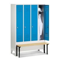 Garderobenschrank C+P Classic mit vorgebauter Sitzbank aus Kunststoff, 4 Abteile à 400 mm, Zylinderschloss