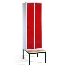 Garderobenschrank C+P Evolo mit Sitzbank, 2 Abteile à 300 mm, Zylinderschloss
