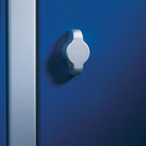Garderobenschrank C+P mit Sockel, Lochfeld + Drehriegelverschluss, 3 Abteile, HxBxT 1.800 x 1.200 x 500 mm
