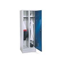Garderobenschrank mit 1 Doppelabteil + Sockel + Zylinderschloss, Breite 610 mm