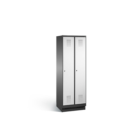 Garderobenschrank mit 2 Abteile à 300 mm Breite + Sockel, mit Zylinderschloss