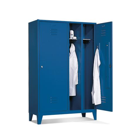 Garderobenschrank mit 2 Doppelabteile + Füßen + Zylinderschloss, Breite 1210 mm
