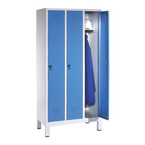 Garderobenschrank mit 3 Abteile à 300 mm Breite + Sockel mit Zylinderschloss