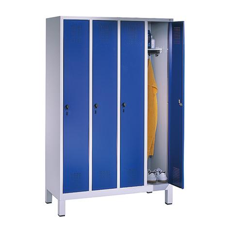 Garderobenschrank mit 4 Abteile à 300 mm Breite + Sockel, mit Zylinderschloss