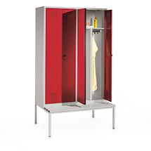 Garderobenschrank mit Sitzbank, 300mm breit, 2 Abteile, mit Zylinderschloss
