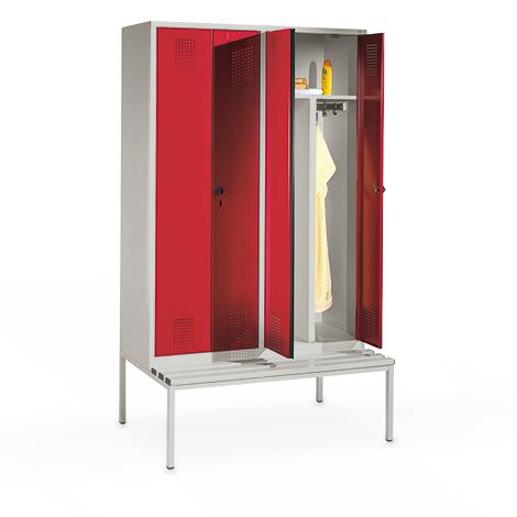Garderobenschrank mit Sitzbank, 300mm breit, 4 Abteile, mit Zylinderschloss