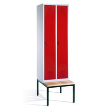 Garderobenschrank mit Sitzbank C+P Evolo, 2 Abteile à 300 mm, Zylinderschloss