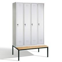 Garderobenschrank mit Sitzbank C+P Evolo, 4 Abteile à 300 mm, Zylinderschloss