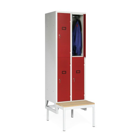 Garderobenschrank mit Sitzbank Portofino, 2-stöckig, 4 Abteile à 300 mm, Zylinderschloss