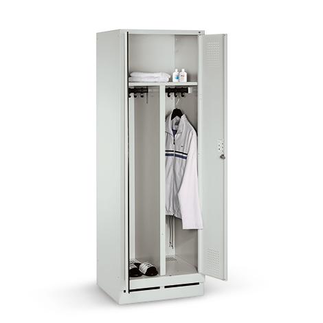 Garderobenschrank mit Sockel, 400mm Abteilbreite, 1 x 2 Abteile, Zylinderschloss