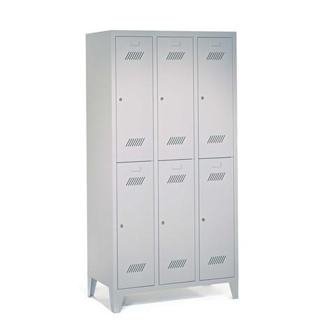 Garderobenschrank PAVOY mit Füßen + Drehriegelverschluss, 2-stöckig, 6 Fächer, HxBxT 1.850 x 930 x 500 mm