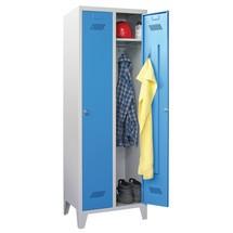 Garderobenschrank PAVOY mit Füßen + Drehriegelverschluss, 3 Abteile, HxBxT 1.850 x 930 x 500 mm
