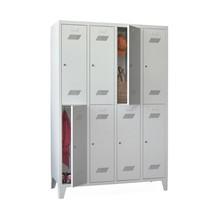 Garderobenschrank PAVOY mit Füßen + Zylinderschloss, 2-stöckig, 8 Fächer, HxBxT 1.850 x 1.230 x 500 mm