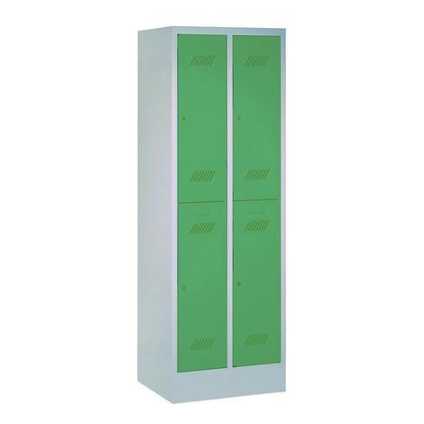 Garderobenschrank PAVOY mit Sockel + Drehriegelverschluss, 2-stöckig, 4 Fächer, HxBxT 1.850 x 630 x 500 mm
