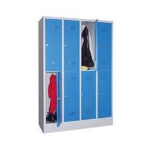 Garderobenschrank PAVOY mit Sockel + Drehriegelverschluss, 2-stöckig, 8 Fächer, HxBxT 1.850 x 1.230 x 500 mm