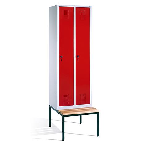 Garderobenschrank, Unterbau-Bank + Lochfeld, 2 x 300 mm, mit Zylinderschloss