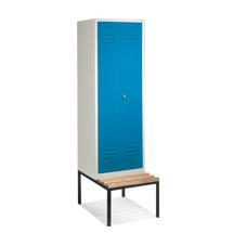 Garderobenschrank,1 Doppelabteil+2 Türen+Bank+Dreh, 610 mm