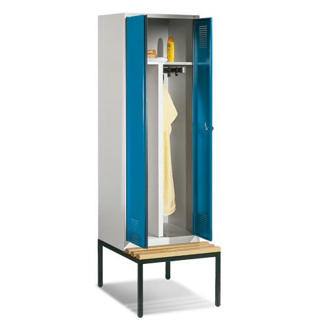 Garderobenschrank,1 Doppelabteil+2 Türen+Bank+Zylind, 610 mm