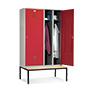 Garderobenschrank,2 Doppelabteile+2 Tür+Bank+Zylinder,1190mm