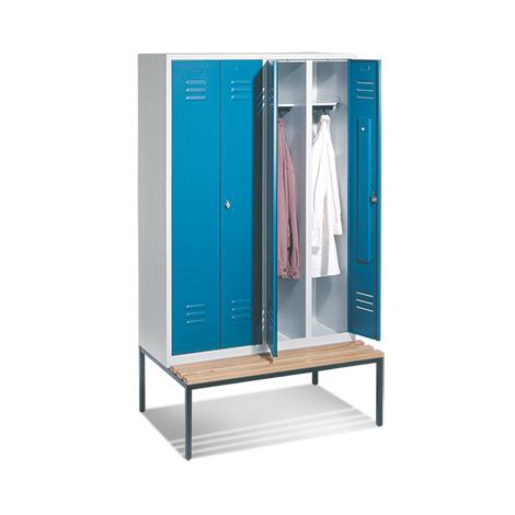 Garderobenschrank,2 Doppelabteile+4 Türe+Bank+Zylinde,1610mm