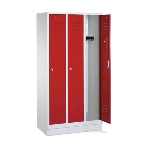 Garderobenschrank,Füße+Löcher+Drehriegelverschl, 3x300 mm