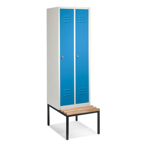 Garderobenschrank,Unterbau-Bank Holz+Drehverschl, 2x300mm