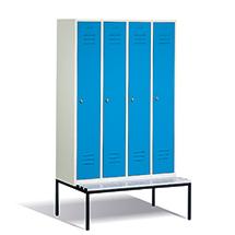 Garderobenschrank,Unterbau-Bank Kunstst+Drehverschl, 4x300mm