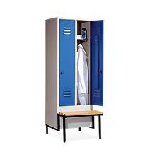 Garderobenschrank,Vorbau-Bank Holz+Drehverschl, 2x300mm