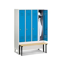 Garderobenschrank,Vorbau-Bank Holz+Drehverschl, 4x300mm