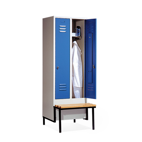 Garderobenschrank,Vorbau-Bank Holz+Zylinderschloss, 2x300mm