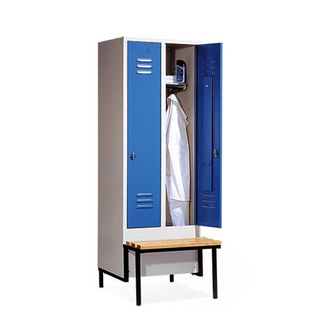 Garderobenschrank,Vorbau-Bank Kunststof+Drehverschl, 2x300mm