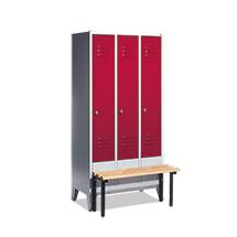 Garderobenschrank,Vorbau-Bank Kunststof+Drehverschl, 3x300mm