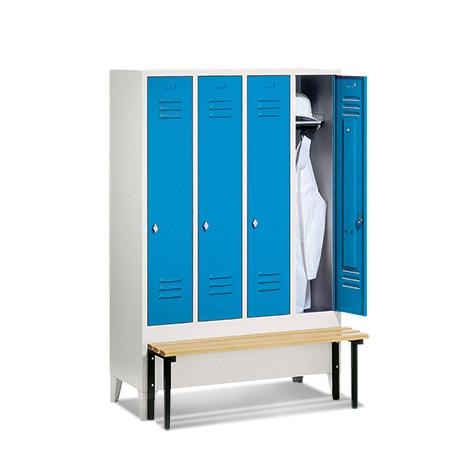Garderobenschrank,Vorbau-Bank Kunststof+Drehverschl, 4x300mm