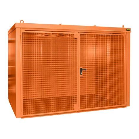 Gascilindercontainer met dak voor max. 96 flessen, brandwerend