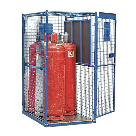 Gasflaschen-Gitterschrank mit 1-flügeliger Tür mit flachem Boden