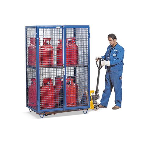 Gasflaschen-Gitterschrank mit 2-flügeliger Tür. Mit Sockelfüßen