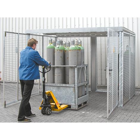 Gasflaschen-Lagerbox TRG 280. Mit Dach, Höhe 2180 mm