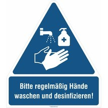 Gebots-Kombischild, Bitte regelmäßig Hände waschen und desinfizieren!