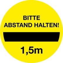 Gebotsschild 'Bitte 1,5 m Abstand halten'