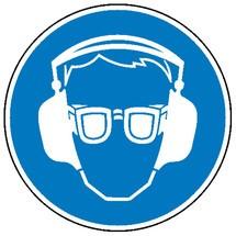 Gebotsschild – Gehör- und Augenschutz benutzen