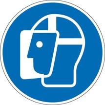Gebotsschild 'Gesichtsschutz benutzen'