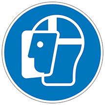 Gebotsschild Gesichtsschutzschild benutzen