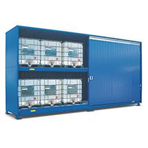 Gefahrstoff-Regalcontainer, KTC-/IBC-Lagerung, Flügeltür, 2820x1640mm