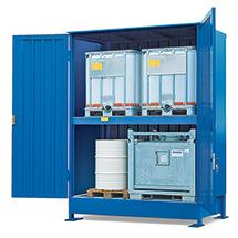 Gefahrstoff-Regalcontainer, KTC-/IBC-Lagerung, Schiebetür, 5670x1640mm