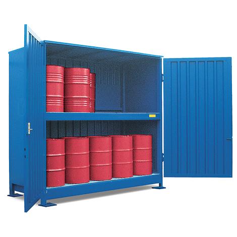 Gefahrstoff-Regalcontainer, stehende Lagerung, Schiebetür, 8040x1640mm