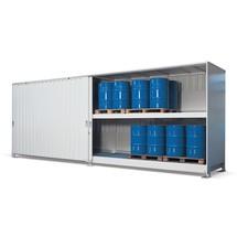 Gefahrstoff-Regalcontainer, stehende Lagerung, Schiebetür, HxBxT 3.020 x 8.040 x 1.640 mm