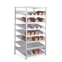 Genomgångshylla för lagervaror META grundsektion, enkelsidig, med hyllplan