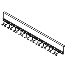 Geräteleiste für 10 Stielgeräte für Materialcontainer