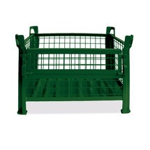 Gitterbox HESON®, mit ½ Gitterklappe, lackiert, HxBxT 600 x 1.200 x 800 mm