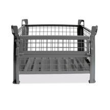 Gitterbox HESON®, mit ½ Gitterklappe, lackiert, HxBxT 670 x 800 x 600 mm